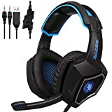 GSLSY Spirit Game and Music Headset USB Desktop PC e-Sports Headset mit Mikrofon CF,Sades SA810 Wolf - Schwarz und Blau