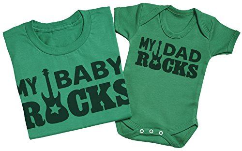 My Dad Rocks, My Baby Rocks - Passende Vater Baby Geschenkset - Herren T-Shirt & Baby Strampler / Baby Body Weiß