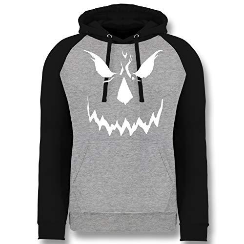 Shirtracer Halloween - Scary Smile Halloween Kostüm - S - Grau meliert/Schwarz - JH009 - Baseball Hoodie