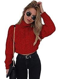 codice promozionale 8d525 8db9c Amazon.it: maglione con collo alto - Rosso / Donna ...