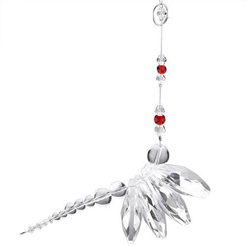 Handgefertigt Kristall zum Aufhängen Anhänger, Cute Libelle Prismen Ornament Ball Kronleuchter Lampe Mobile Anhänger Geschenk für Auto Rear View Mirror Home Party Hochzeit Decor