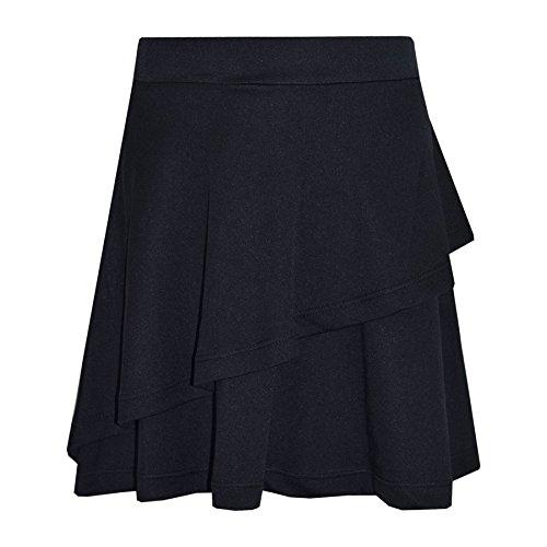 Einfach Rüsche-rock (A2Z 4 Kids® Mädchen Rock Kids Einfache Farbe SCHULE - Plain Frill Skirt Black 9-10)