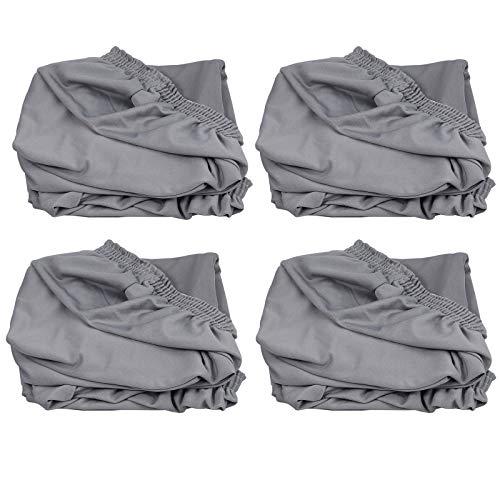 AUTOUTLET 4x Stuhlbezug Universal Stuhlhussen Stretch Stuhlüberzug Hussen Stuhlbezug Grau