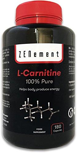 L-Carnitina, 100% pura   180 cápsulas x 500mg   Ayuda al cuerpo a producir energía y la metabolización eficaz de las grasas   Vegano, no GMO, sin gluten