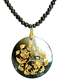 Gemshine - Damen - Halskette - Anhänger - Medaillon - Perlen - Perlmutt - Vergoldet - Tahiti - Grau - 5 cm