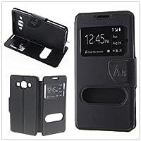 MISEMIYA - Coque Étui pour Samsung Galaxy A5 2016 (A510F) - Étui + Protecteur Verre Trempé, COVER-CRUZADA avec support,noir