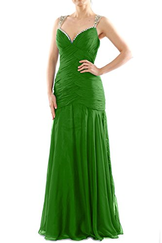 MACloth Women Mermaid Sleeveless Chiffon Long Prom Dress Evening Formal Gown Grün