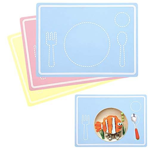 Youda tovaglietta in silicone per bambini, set di tovagliette a 3 pezzi, antiscivolo impermeabile, lavabile in lavastoviglie, colorata (rettangolo)
