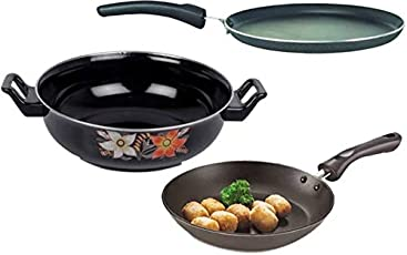 Bincy Anti Scratch/Non Stick/Hard Anodised Combo-3 in 1 Induction Bottom Cookware Set