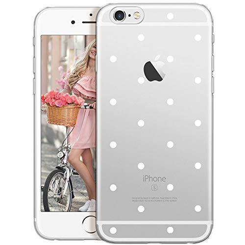 OOH!COLOR® Design Case für iPhone 6 / 6S mit Motiv MPA147 weiß Punkte modisch stilvoll Silikon Hülle elastisch Schutzhülle Transparent Case Luxus Cover Slim Etui