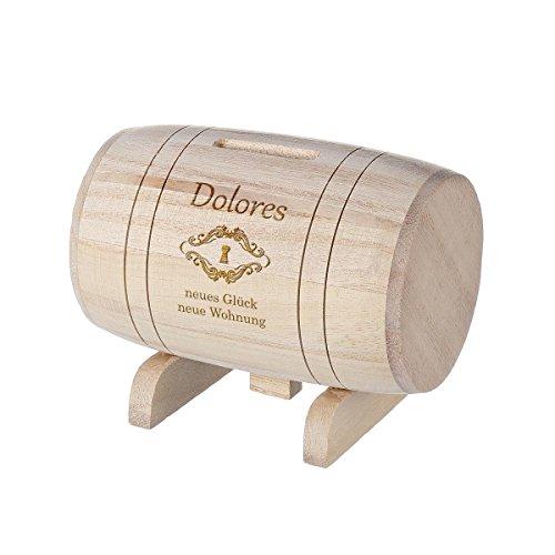 polar-effekt Spardose aus Holz - Sparbüchse Form Fass mit Gravur - Geschenk für jeden Anlass - Motiv neue Wohnung