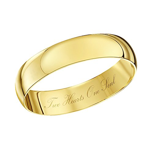 Theia Unisex - Ehering Two Hearts One Soul graviert 9ct gelbgold 4mm - Gr. 53 (16.9) TH4335-M
