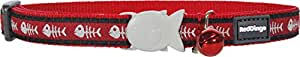 Red Dingo Fish Bone Patterned Cat Collar, 12 mm, Neck Size 20 - 32 cm, Red