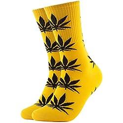 Calcetines Weed marihuana diseño amarillo con hojas, color negro
