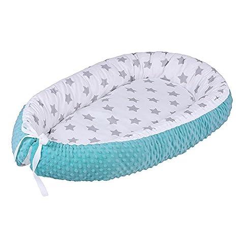 LULANDO multifunktionales Babynest Kuschelnest Babynestchen MINKY (80 x 45 cm). Weiches und sicheres Baby-Reisebett Babybett Nestchen für Neugeborene. Farbe: Grey Stars / Mint