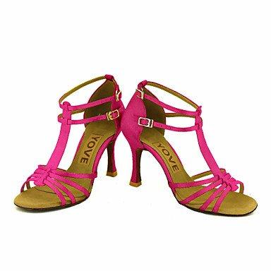 Scarpe da ballo-Personalizzabile-Da donna-Balli latino-americani Salsa-Tacco su misura-Raso-Nero Blu Giallo Rosa Viola Rosso Bianco Red