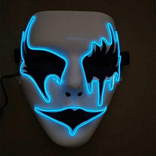 TINGTING Glühende Maske Dress up Maske 骷髅 Clown Weiß Horror Lustige Halloween Dekoration 22.5X17.5CM,A
