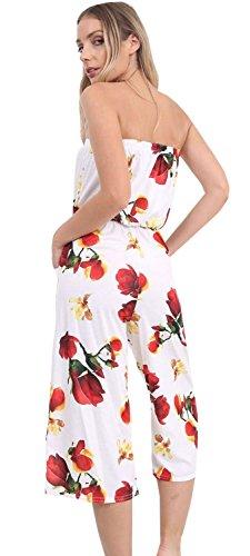 Nouveau Dames Off Épaule Sans Bretelles Culotte Bandeau Court Jumpsuit Bardot Playsuits 36-54 Cream Floral