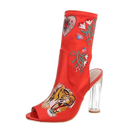 Kostüm Supersexy - Ital-Design Damenschuhe Pumps High Heel Pumps Canvas Rot Gr. 39