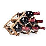 Zhfabss Kreatives Massivholz Wein Regal, Holz Weinregal, Faltbare Haushalts Wein Vitrine Wohnzimmer Weinschrank Regal