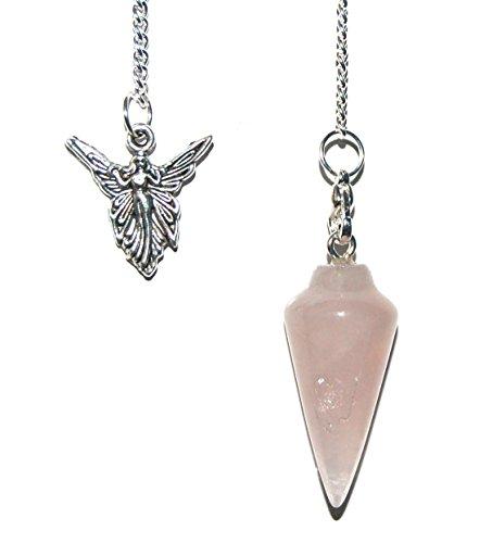 Ahimsa Cristal de Cuarzo Rosa Dowser curación péndulo–Ángel Encanto