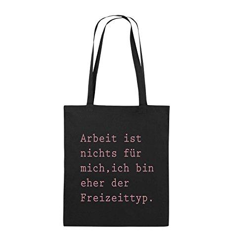 Comedy Bags - Arbeit ist nichts für mich, ich bin ehr der Freizeittyp - Jutebeutel - lange Henkel - 38x42cm - Farbe: Schwarz / Silber Schwarz / Rosa