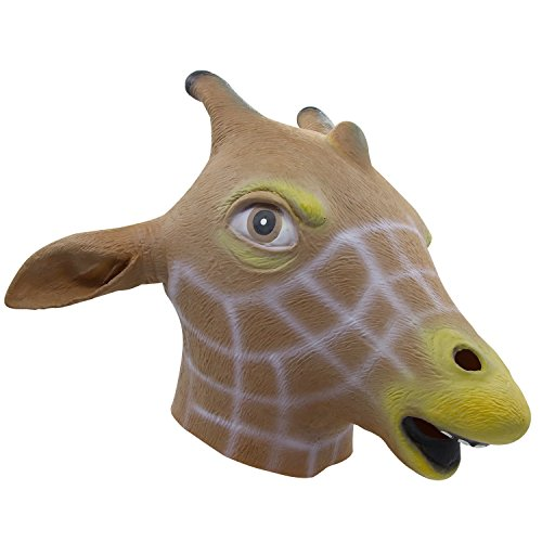 , Halloween Giraffe Volle über Kopf Maske, Neuheit Deluxe Kostüm Party Cosplay Latex Animal Head Maske für Erwachsene (Giraffe Latex Maske)