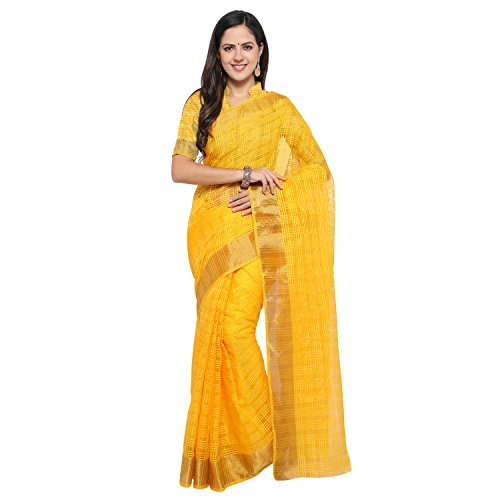 sarvagny clothing art silk gold color daily wear party wear saree with...