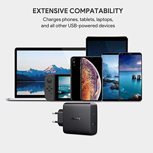 AUKEY USB C Caricabatteria da Muro 56,5W Caricatore USB con una porta 46W Power Delivery 3.0 per MacBook/Pro, Nintendo Switch, Samsung, Google Pixel, iPhone XS / XS Max / XR ecc.