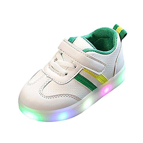 FNKDOR Baby Kleinkind Kinder LED Leuchtschuhe Weiß Turnschuhe Striped Sneaker(21,Grün)