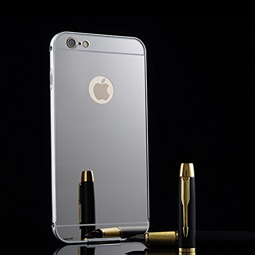 iPhone 6S Plus/iPhone 6 Plus 5.5 Spiegel Hülle,BtDuck Ultra Dünn Luxury Aluminum Überzug Metal Mirror PC Back Case Schutzhülle Slim Telefon-Kasten Handyhülle Mirror Spiegelnd Make Up Stoßdämpfend Protective Case Cover - Bling Telefon-kästen Aus