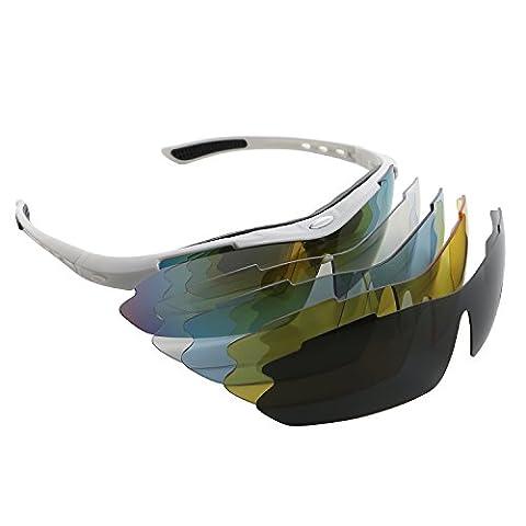 Polarisierte Sport-Sonnenbrille Unisex Damen Herren Fashion half-rimmed UV400Schutz mit 5Gläsern für Radfahren Reiten fahren Angeln Laufen Golf Baseball Travel Outdoor Aktivitäten, weiß