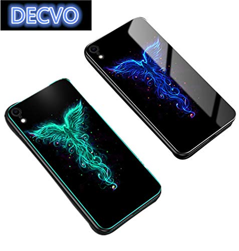 Luminous Fashion Luxus gehärtetes Glas Hybrid Case Back Glow Design Schutzhülle Effekt TPU Soft Case Ultra Dünn Anti-Bump Shell Glow im Dunkeln Fluoreszierende Hülle kompatibel iPhone XR, Vogel-Motiv 3 Layer Soft Shell
