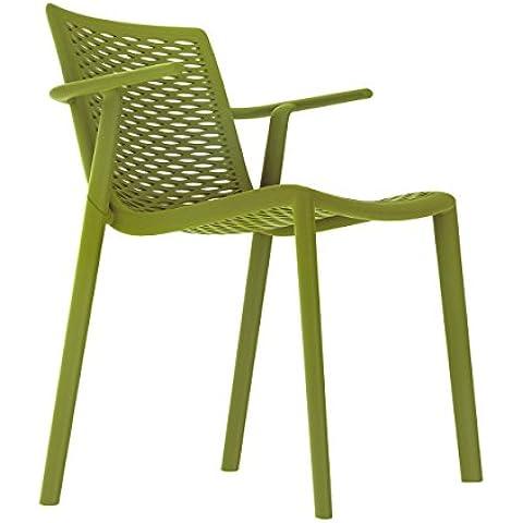 Resol silla Netkat con brazos - color verde oliva, set de 2 unidades