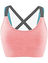 Ritu-Creation Women's Padded Full Coverage Quick Dry Padded Shockproof Racer Back Sports Bra with Removable Soft Cups for Gym, Yoga, Running, and Fitness
