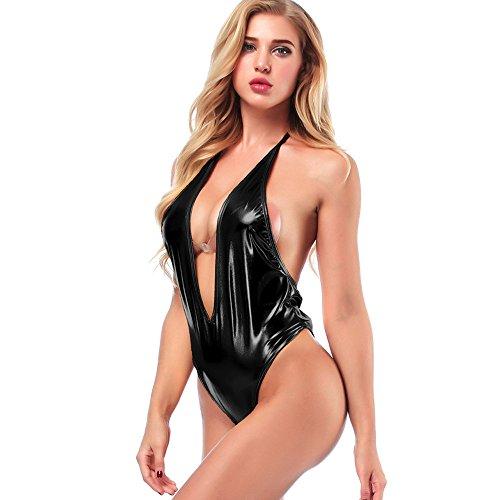 Ansenesna Reizwäsche Damen Erotik Leder Neckholder Leidenschaft Babydoll Frauen V Ausschnitt Entblößte Versuchung Kostüme ()