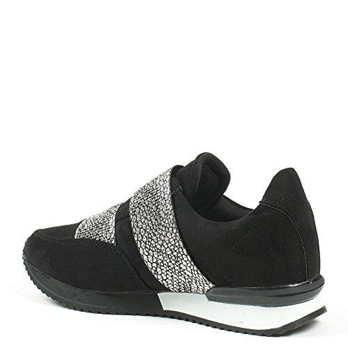 Ideal Shoes - Baskets style running bi-matière à enfiler Kamila Argent