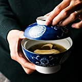 Achun Cuencos de ensalada de diseño único Vajilla creativa tazón de cerámica pintado a mano con tapa tazón de porcelana tazón de arroz tazón de fuente de fideos casera guisado tazón de arroz glutinoso