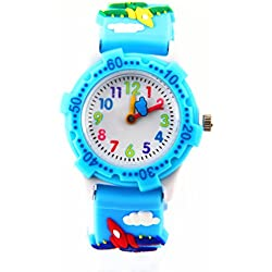 Boys Girls Moving Cloud Second Hand 3D Planes Strap Children Kids Environmentally Friendly Silicone Watch Sky Blue