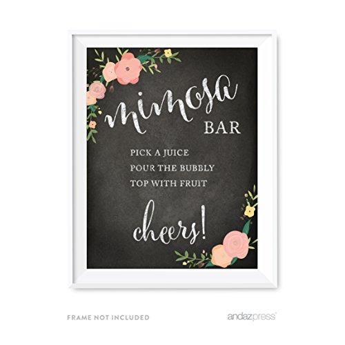 eit Party Schilder, Kreidetafel Pink Coral Floral Rosen Print, Set 1 FOOD MIMOSA BUILD YOUR OWN ()