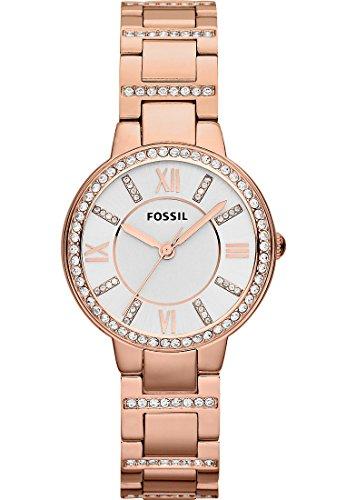 Fossil Virginia Edelstahl Armbanduhr mit Quarz Uhrwerk – Stylische Analoguhr mit Glitzersteinen auf Gehäuse & Uhrenarmband - für einen glamourösen Auftritt