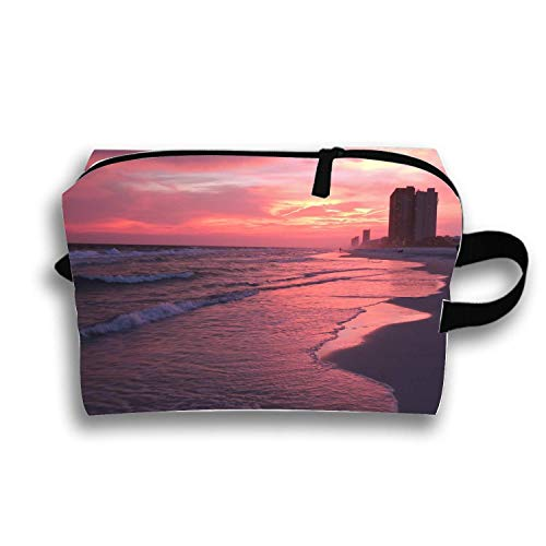 Cosmetic Bags Beautiful City Beach Portable Travel Toiletry Pouch Clutch Bag