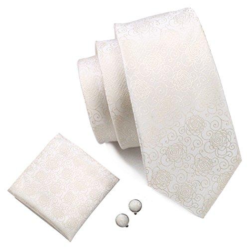 Barry. Wang, Krawatten-Set im Blumenmuster mit Einstecktuch und Manschettenknöpfen Gr. Einheitsgröße, elfenbeinfarben