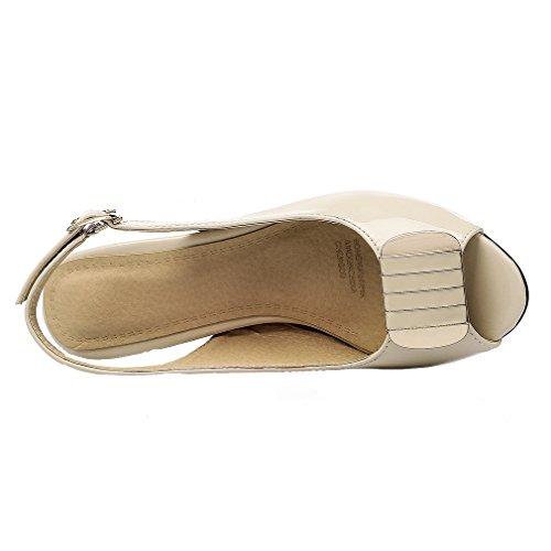 YE Damen Lackleder Peep Toe Slingback Chunky High Heels Sandalen mit 6cm Absatz Elegant Pumps Schuhe Biege