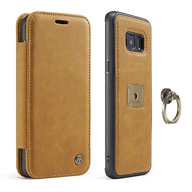 Handy schützen, Caseme® Koffer für Samsung Galaxy S8 S8 plus Kartenhalter Flip Telefon Fall echtes Leder für Samsung Galaxy S7 S7 Kante für Samsung ( Farbe : Gelb , Kompatible Modellen : Galaxy S8 )