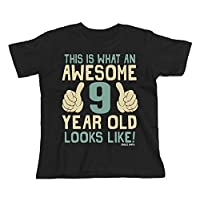 Buzz Shirts 9th Birthday Gift - This is What an Awesome 9 Year Old Looks Like - Boys Girls Kids Black