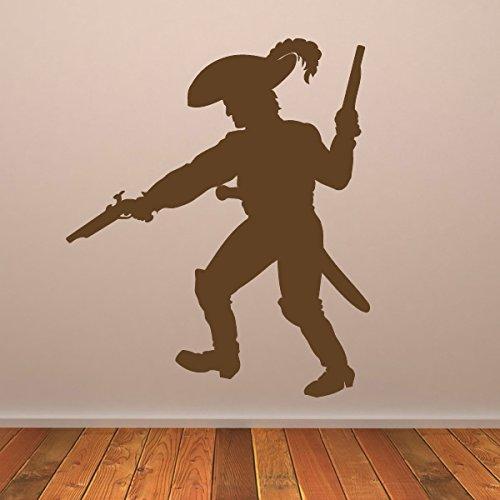 Piratenschattenbild Und Pistolen Piraten Wandsticker Kinder Dekor Art Decals verfügbar in 5 Größen und 25 Farben Groß Licht Orange