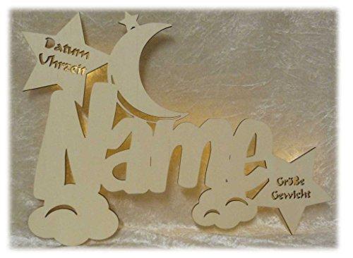 """Schlummerlicht24 Led Holz Nachtlicht """"Wolken-Mond"""" Name-n und Datum individuell personalisiert, Taufgeschenk-e Geschenk-e zur Geburt Taufe Kommunion Paten-Kind Mädchen Junge-n (Ohne Zugschalter)"""