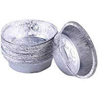 UPKOCH moldes para Papel de Aluminio moldes para Pastel Redondos de 20 Piezas moldes Desechables para Hornear Asar cocinar a la Parrilla preparación de Comidas (sin Tapas / 6 Pulgadas)