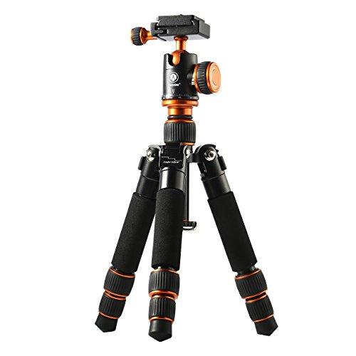 TARION Q166 Kamerastativ Mini Stativ Tripod für DSLR Kameras inkl. Panorama-Kugelkopf und Schnellwechselplatte, Eingezogen 20 cm (Höhe: 20-45 cm, Nutzlast: 3 kg)